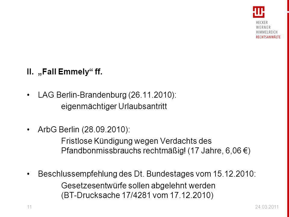LAG Berlin-Brandenburg (26.11.2010): eigenmächtiger Urlaubsantritt