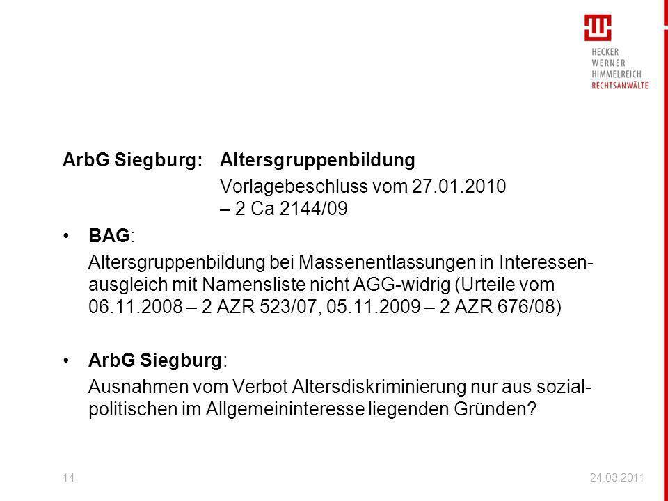 ArbG Siegburg: Altersgruppenbildung