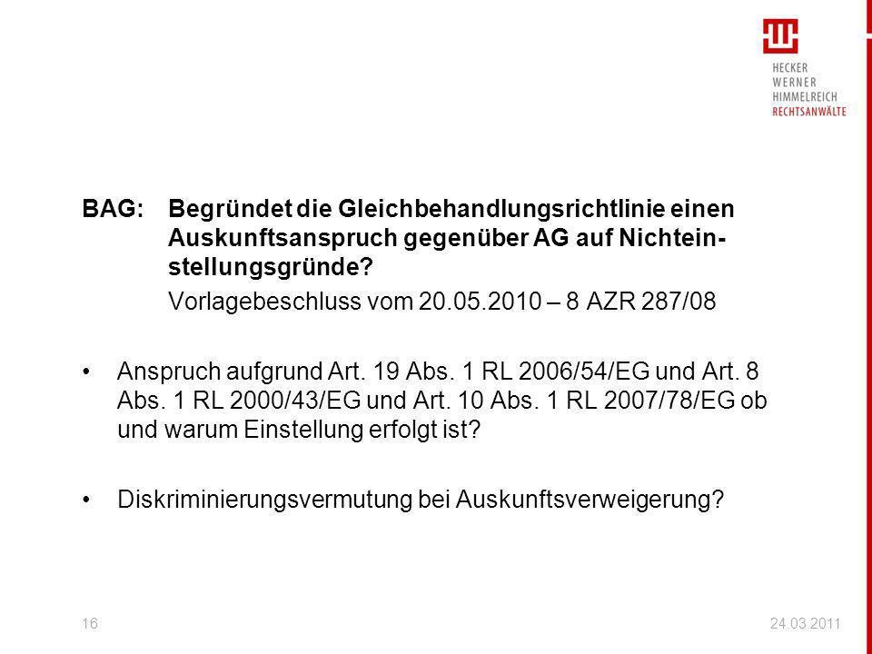 Vorlagebeschluss vom 20.05.2010 – 8 AZR 287/08