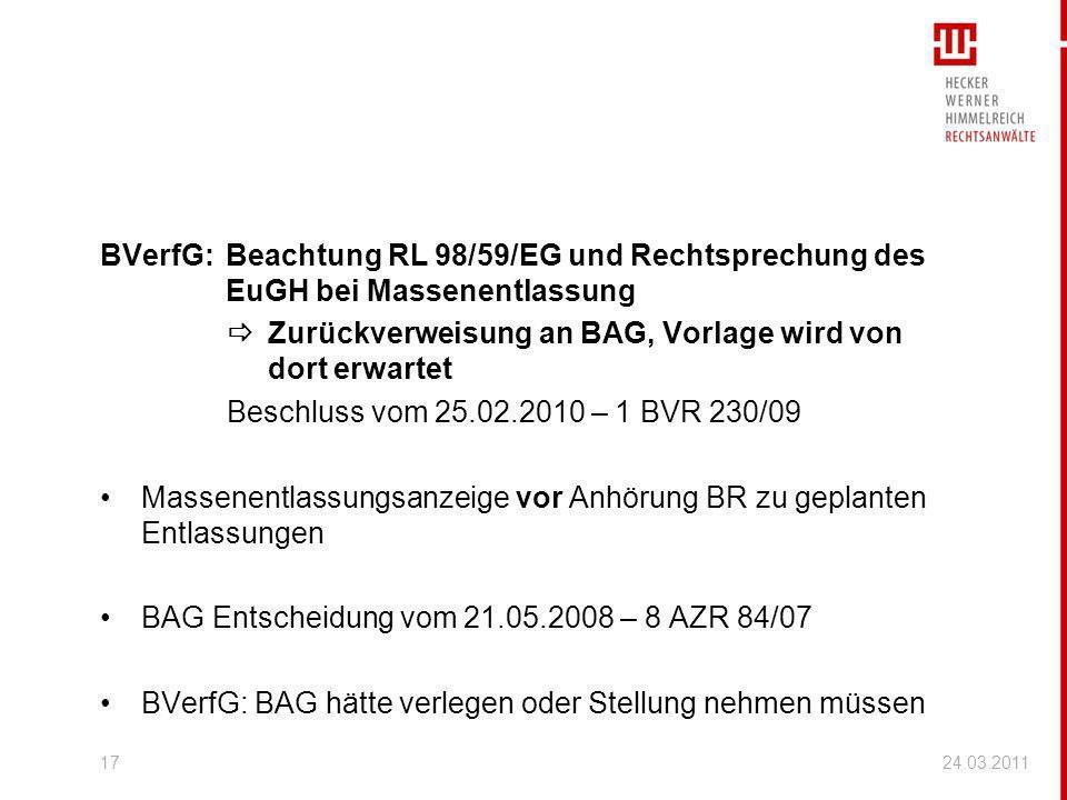  Zurückverweisung an BAG, Vorlage wird von dort erwartet