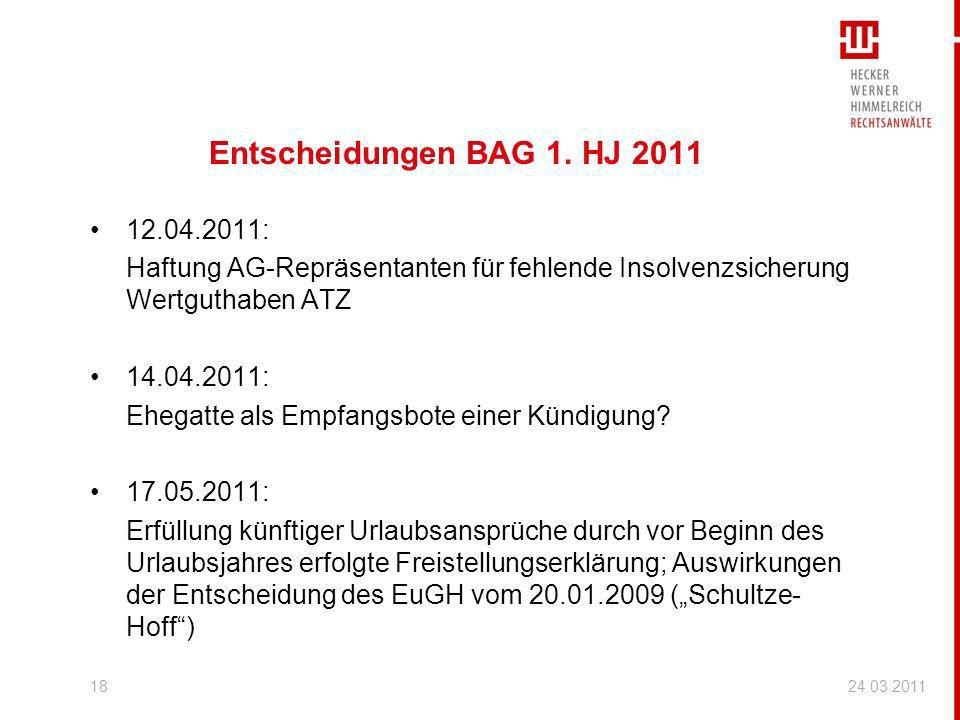 Entscheidungen BAG 1. HJ 2011 12.04.2011: