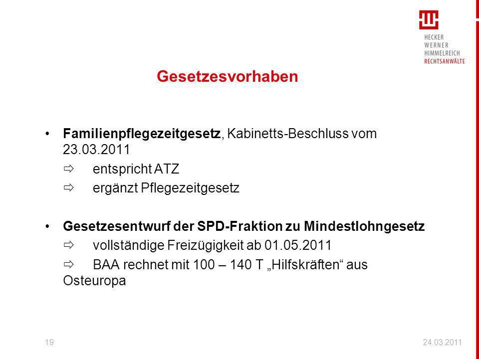 Gesetzesvorhaben Familienpflegezeitgesetz, Kabinetts-Beschluss vom 23.03.2011.  entspricht ATZ.  ergänzt Pflegezeitgesetz.