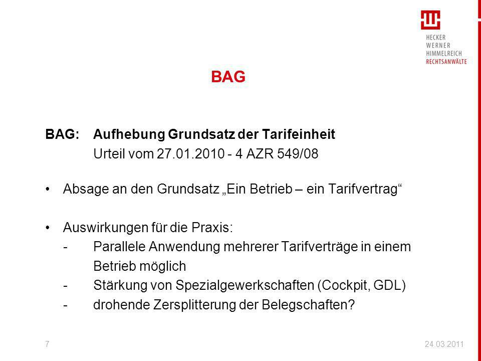 BAG BAG: Aufhebung Grundsatz der Tarifeinheit