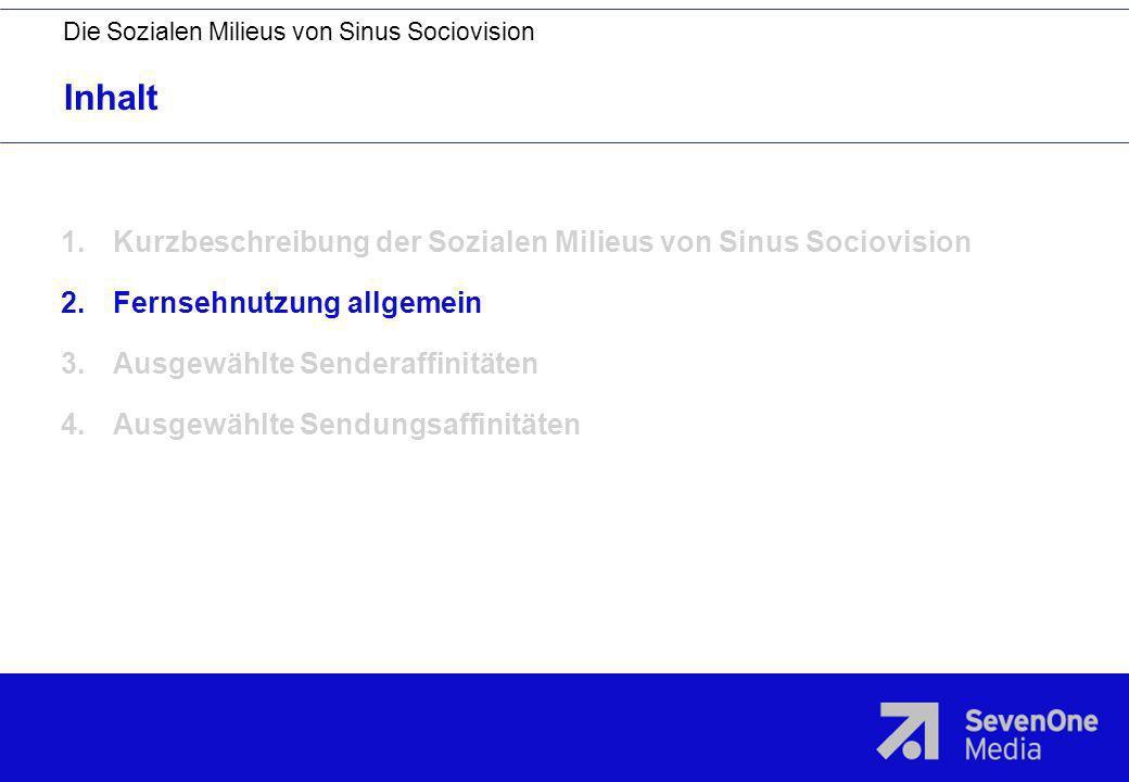 Inhalt Kurzbeschreibung der Sozialen Milieus von Sinus Sociovision
