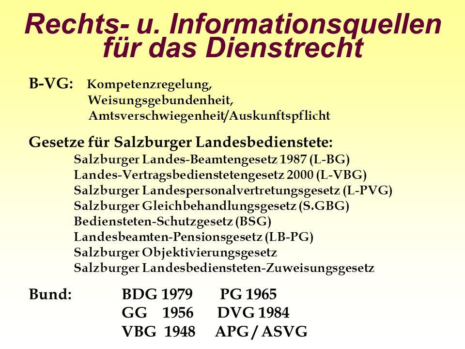 Rechts- u. Informationsquellen für das Dienstrecht