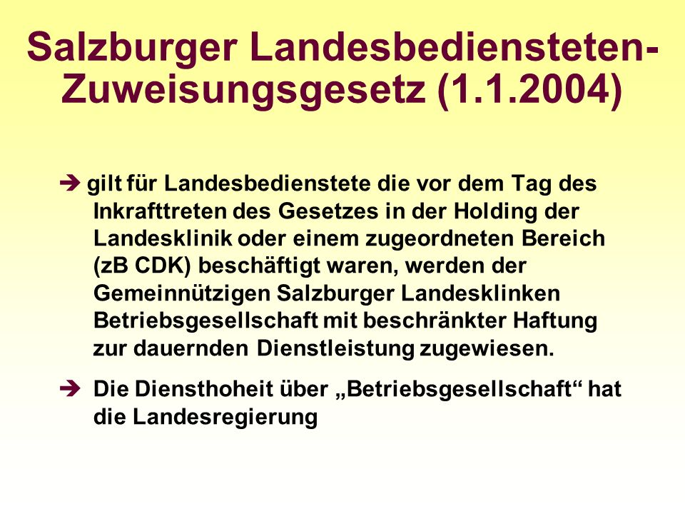 Salzburger Landesbediensteten-Zuweisungsgesetz (1.1.2004)