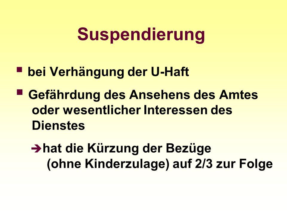 Suspendierung bei Verhängung der U-Haft. Gefährdung des Ansehens des Amtes oder wesentlicher Interessen des Dienstes.