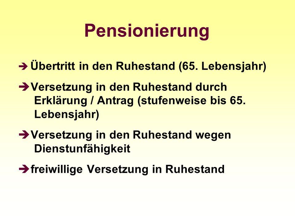 Pensionierung Übertritt in den Ruhestand (65. Lebensjahr)