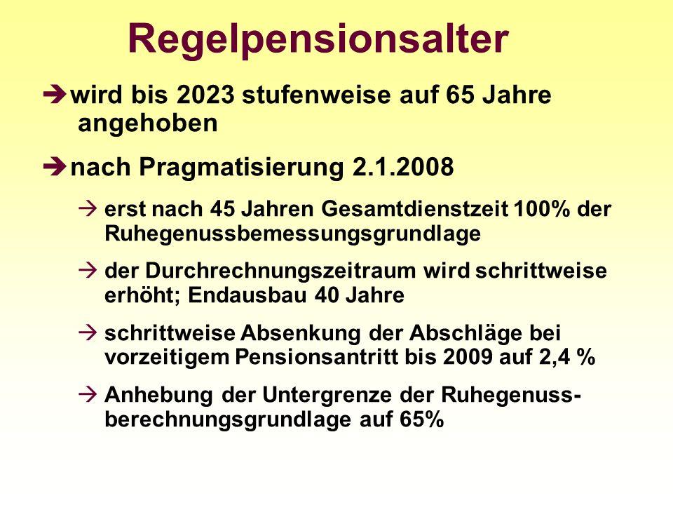 Regelpensionsalter wird bis 2023 stufenweise auf 65 Jahre angehoben