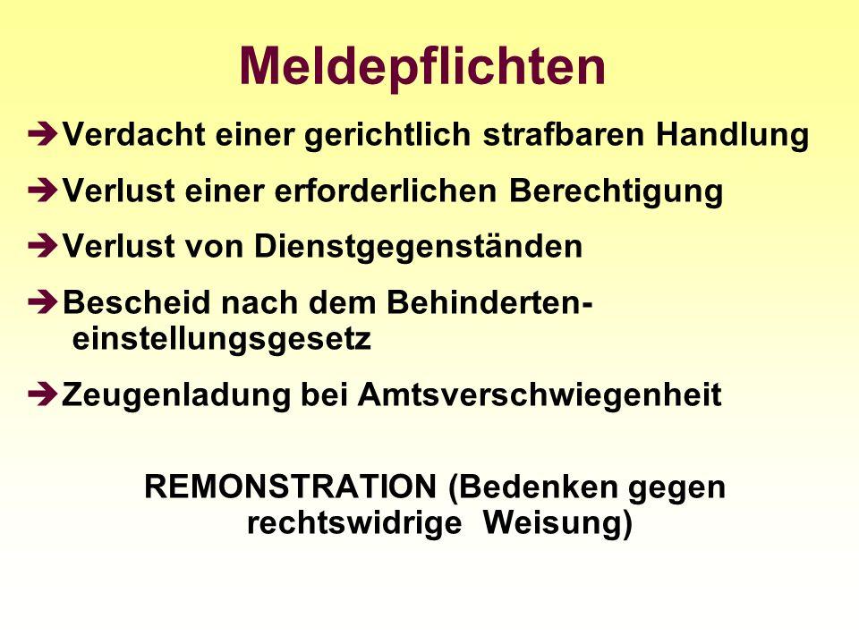 REMONSTRATION (Bedenken gegen rechtswidrige Weisung)