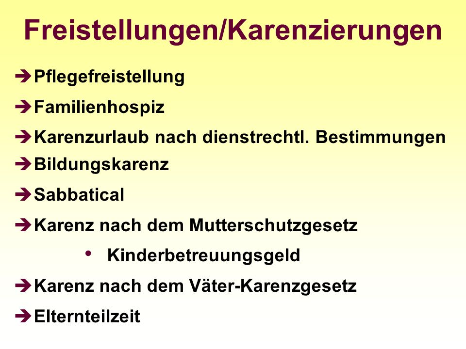 Freistellungen/Karenzierungen