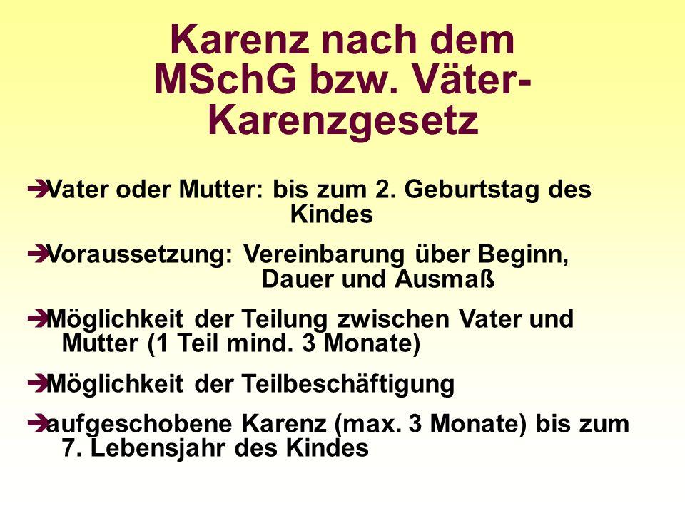 Karenz nach dem MSchG bzw. Väter-Karenzgesetz