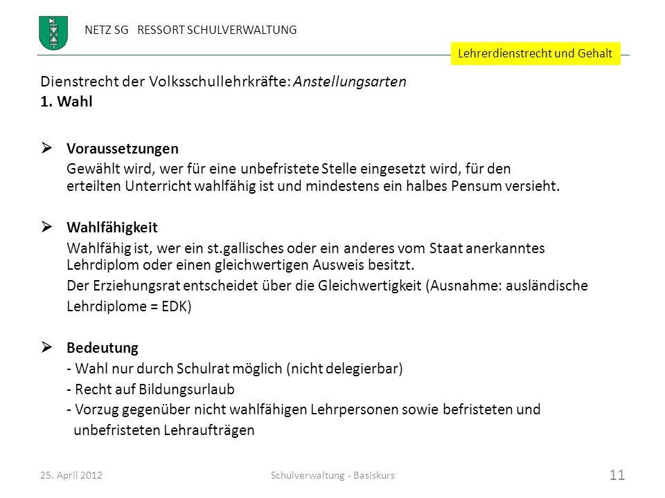 Dienstrecht der Volksschullehrkräfte: Anstellungsarten 1. Wahl