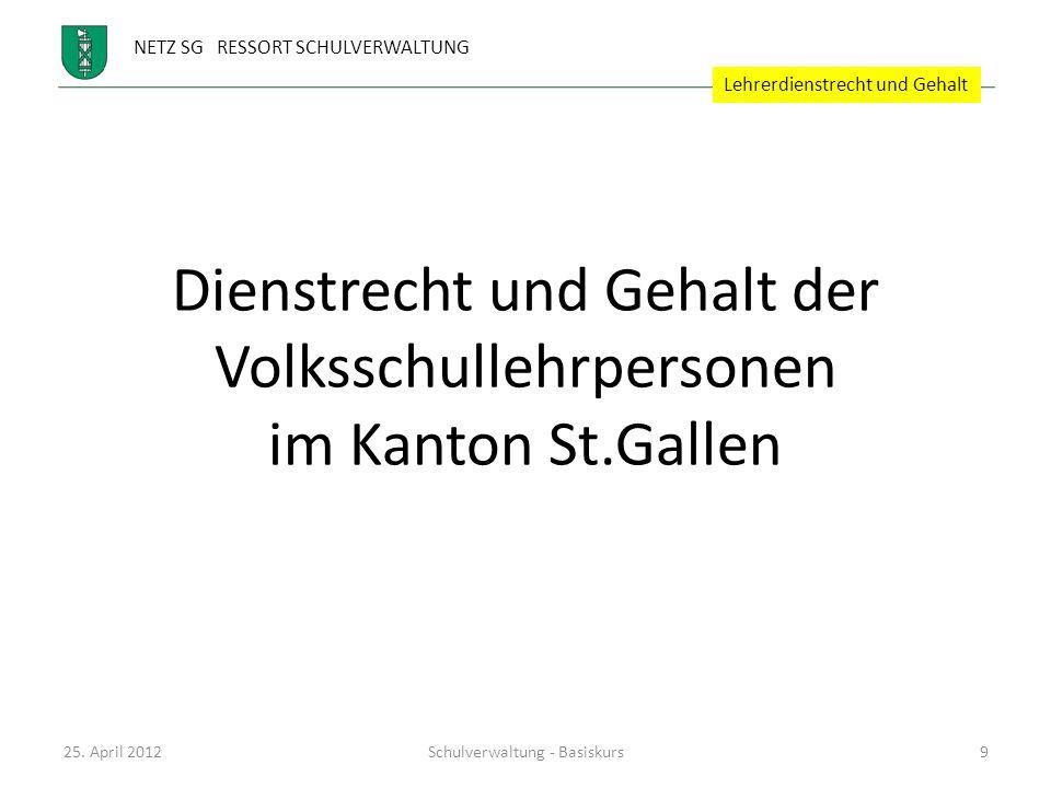 Dienstrecht und Gehalt der Volksschullehrpersonen im Kanton St.Gallen