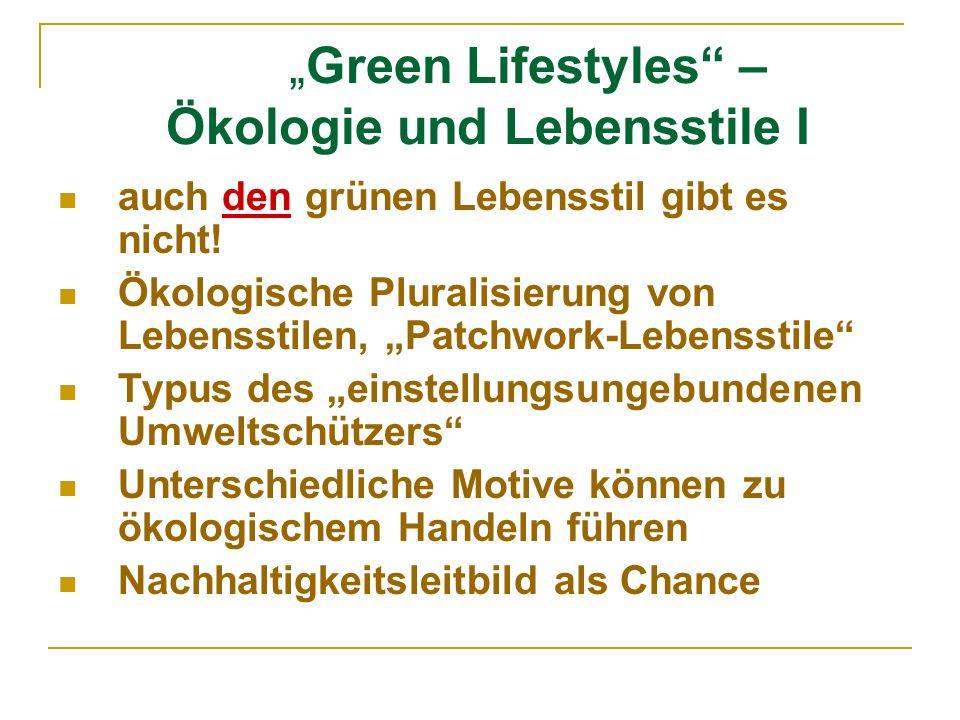 """""""Green Lifestyles – Ökologie und Lebensstile I"""