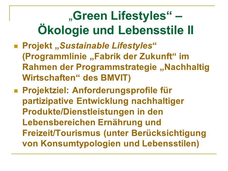 """""""Green Lifestyles – Ökologie und Lebensstile II"""