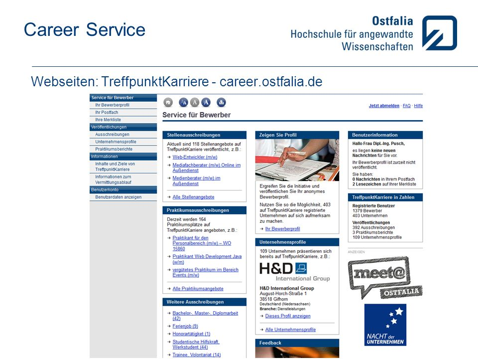 Webseiten: TreffpunktKarriere - career.ostfalia.de