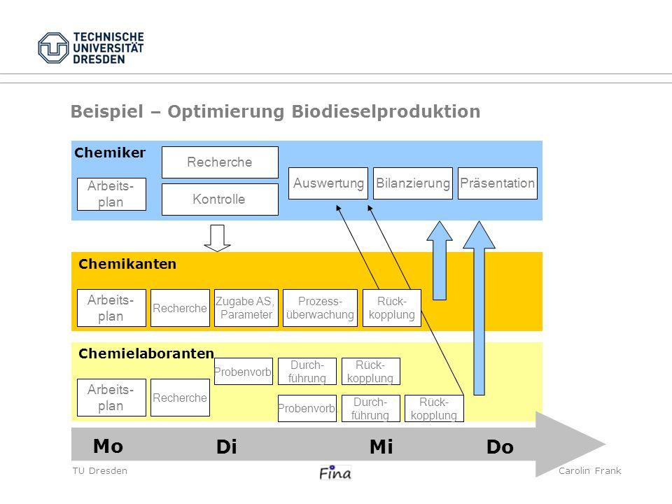 Mo Di Mi Do Beispiel – Optimierung Biodieselproduktion Chemiker