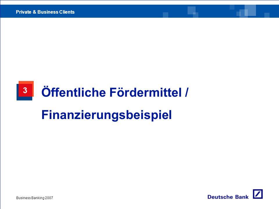 Öffentliche Fördermittel / Finanzierungsbeispiel
