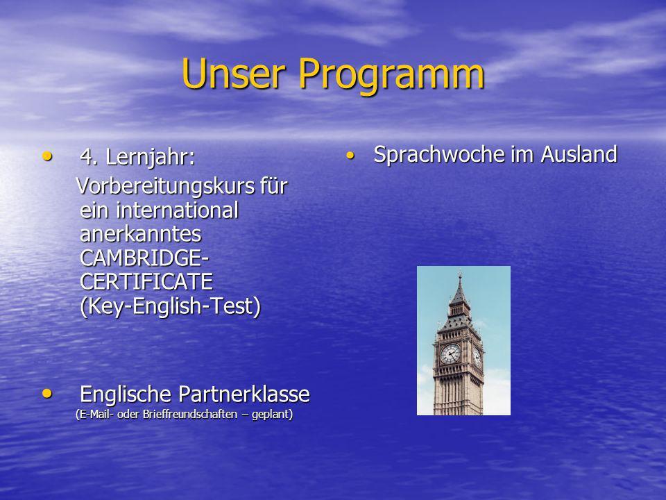 Unser Programm 4. Lernjahr: