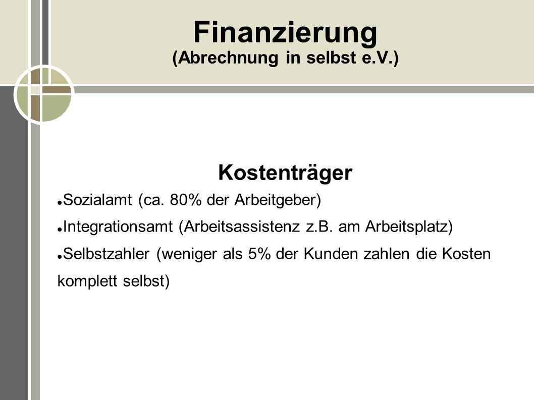 Finanzierung (Abrechnung in selbst e.V.)