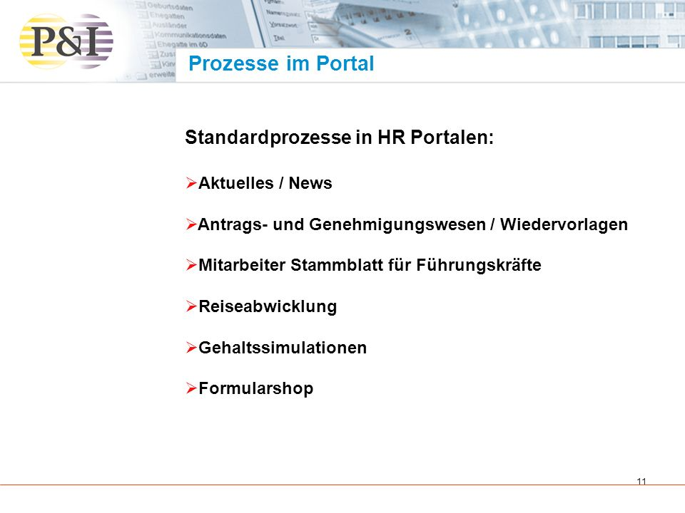 Prozesse im Portal Standardprozesse in HR Portalen: Aktuelles / News
