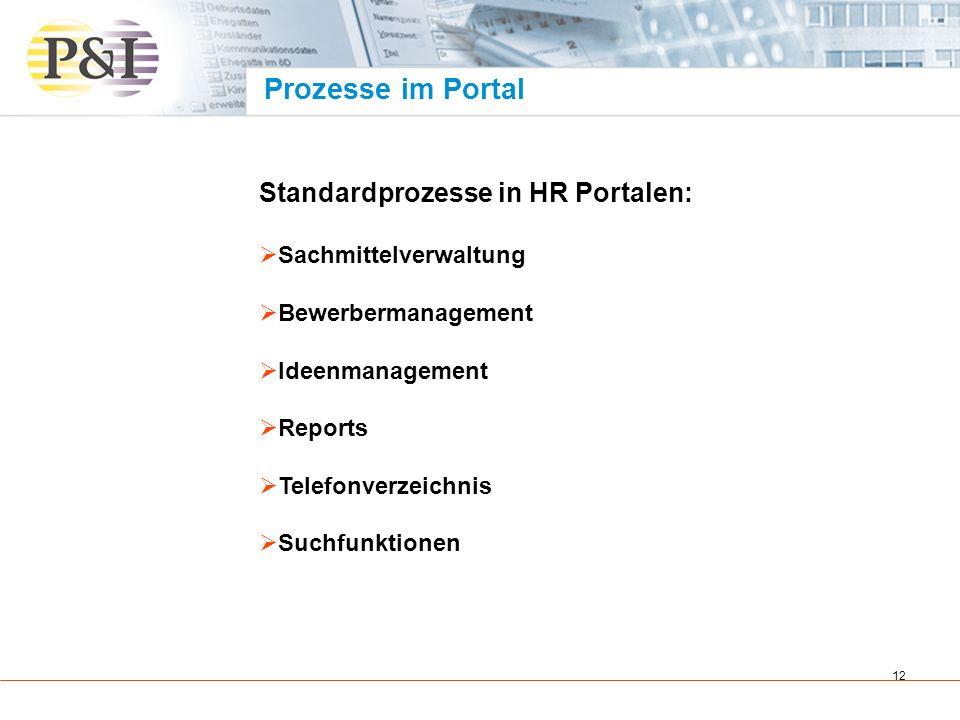 Prozesse im Portal Standardprozesse in HR Portalen: