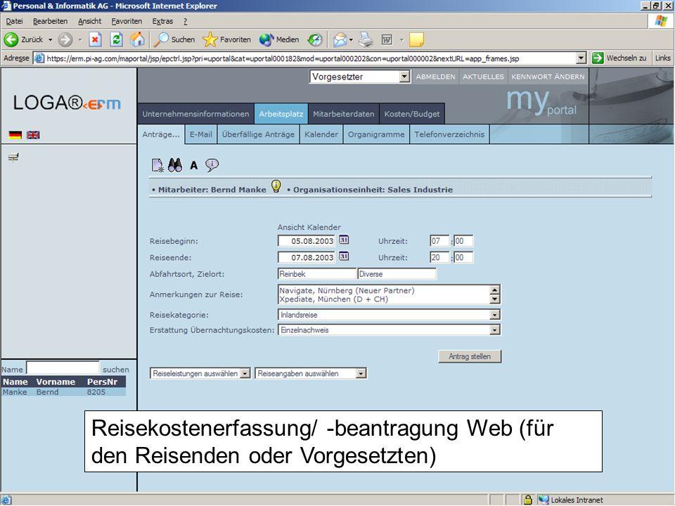 Reisekostenerfassung/ -beantragung Web (für den Reisenden oder Vorgesetzten)