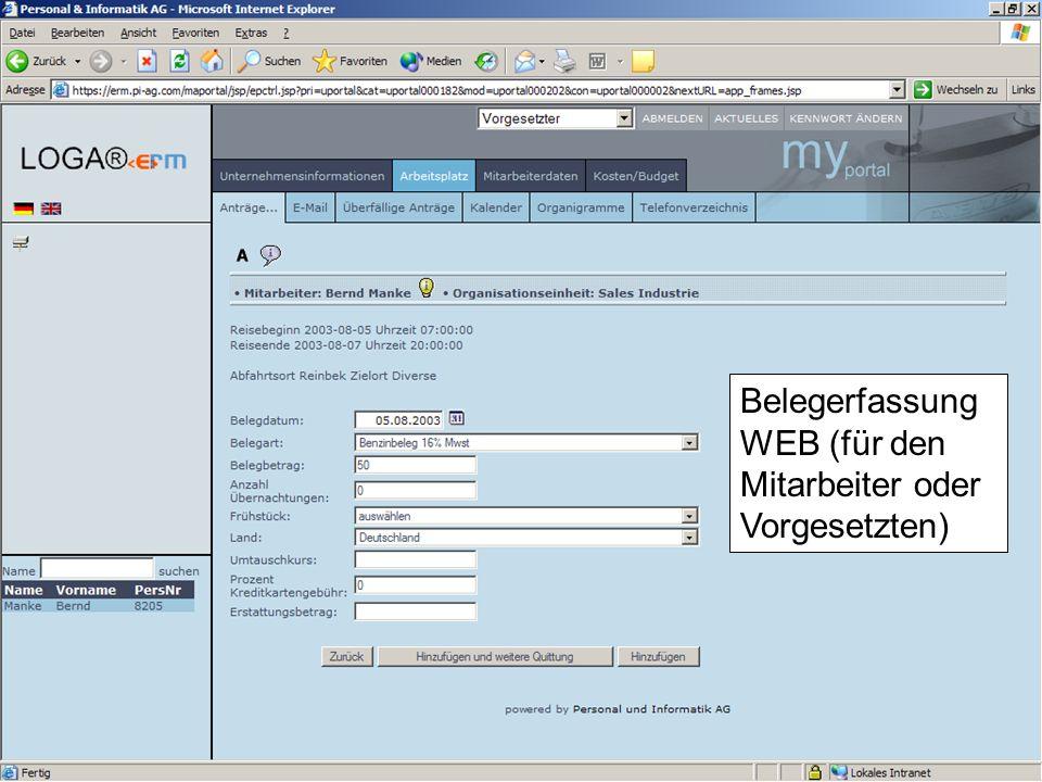 Belegerfassung WEB (für den Mitarbeiter oder Vorgesetzten)