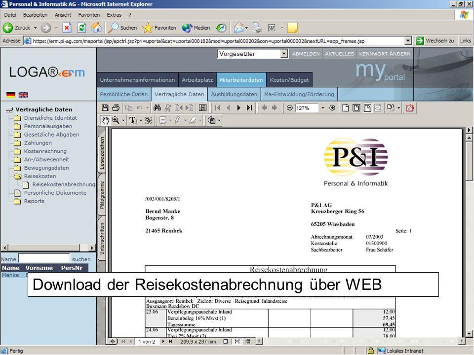Download der Reisekostenabrechnung über WEB