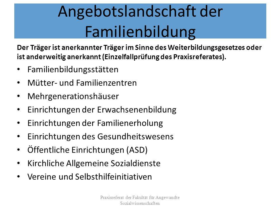 Angebotslandschaft der Familienbildung