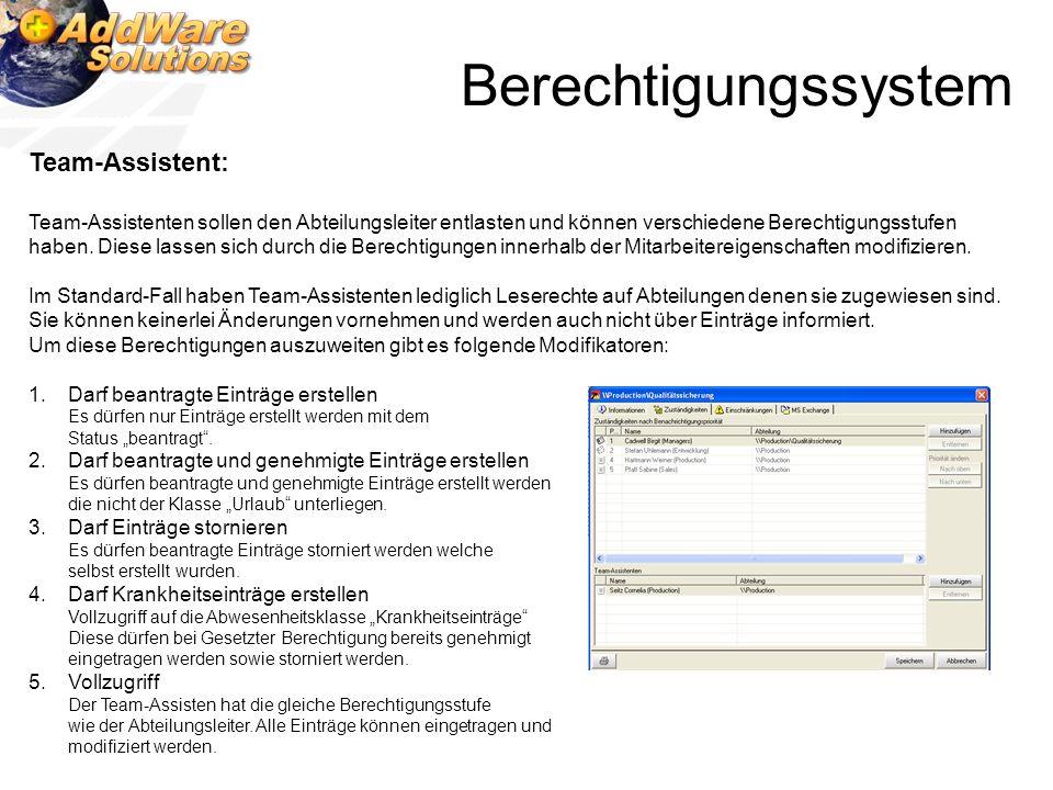 Berechtigungssystem Team-Assistent:
