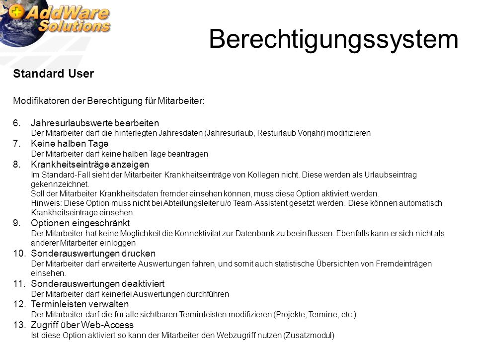 Berechtigungssystem Standard User