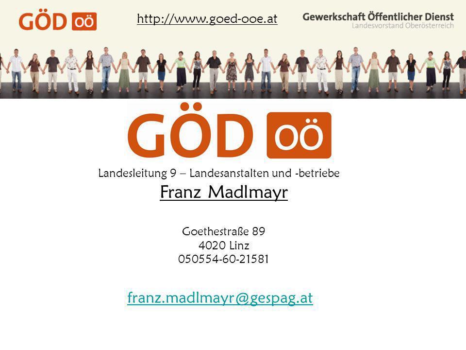 Franz Madlmayr franz.madlmayr@gespag.at http://www.goed-ooe.at
