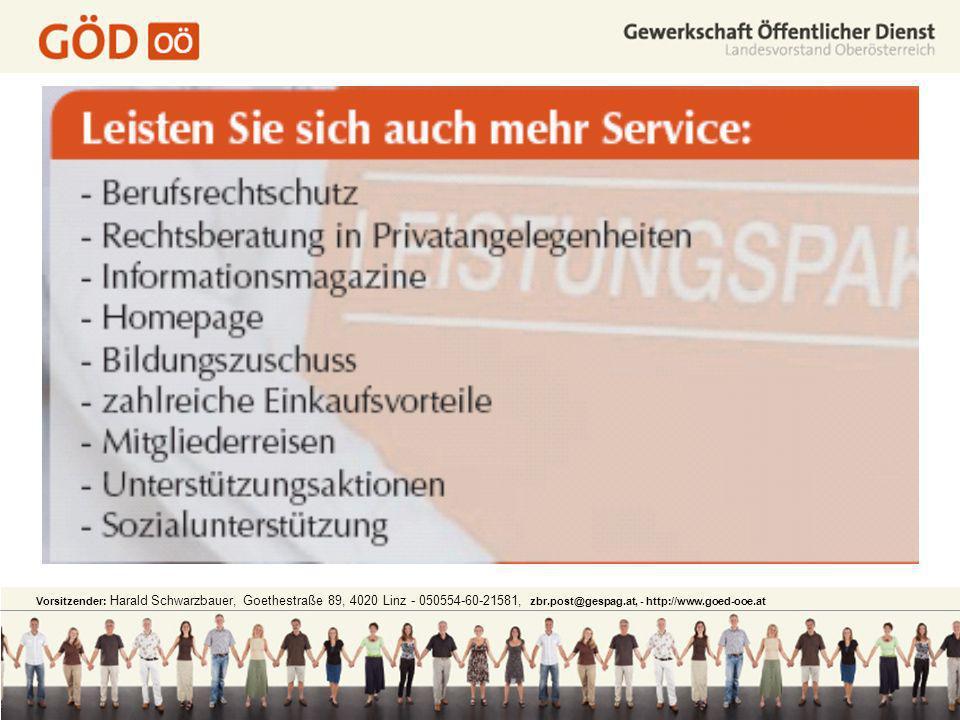 Vorsitzender: Harald Schwarzbauer, Goethestraße 89, 4020 Linz - 050554-60-21581, zbr.post@gespag.at, - http://www.goed-ooe.at