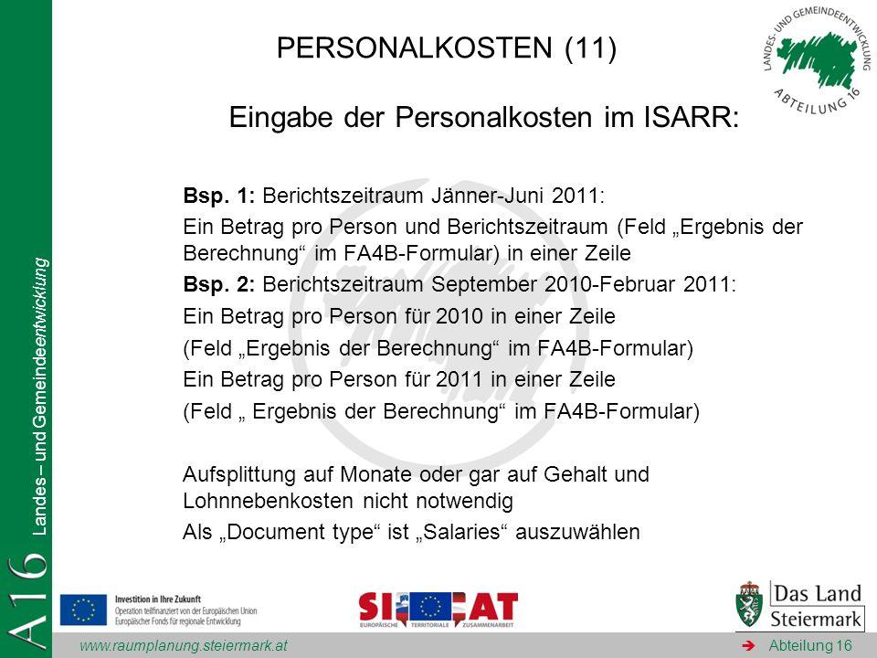 Eingabe der Personalkosten im ISARR:
