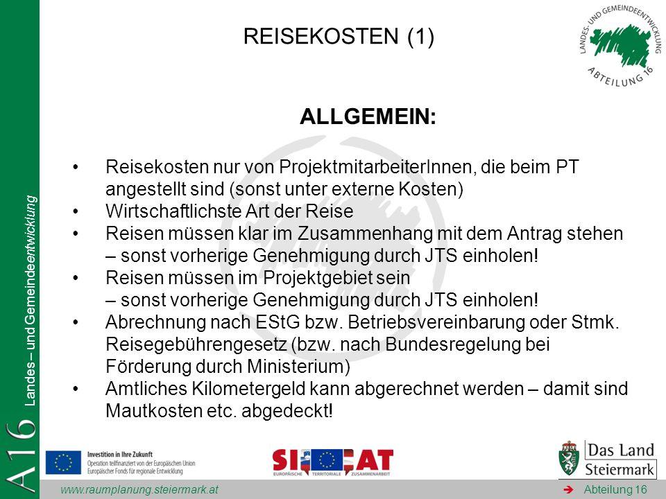 REISEKOSTEN (1) ALLGEMEIN: