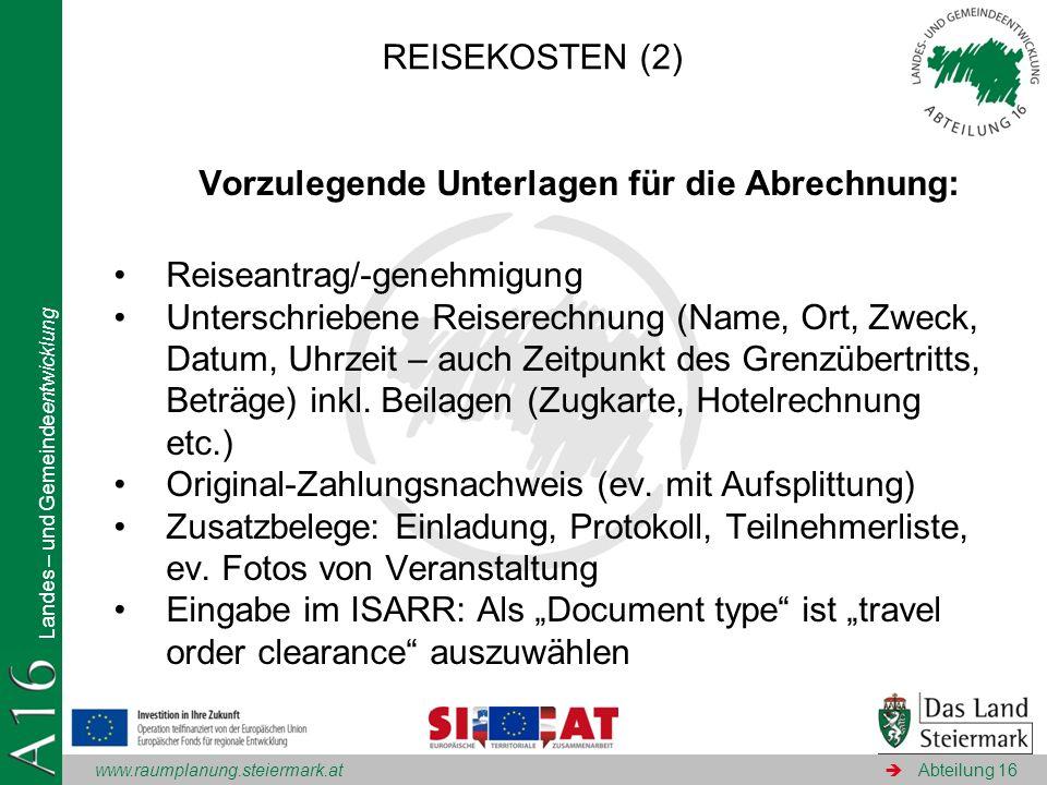 Vorzulegende Unterlagen für die Abrechnung: