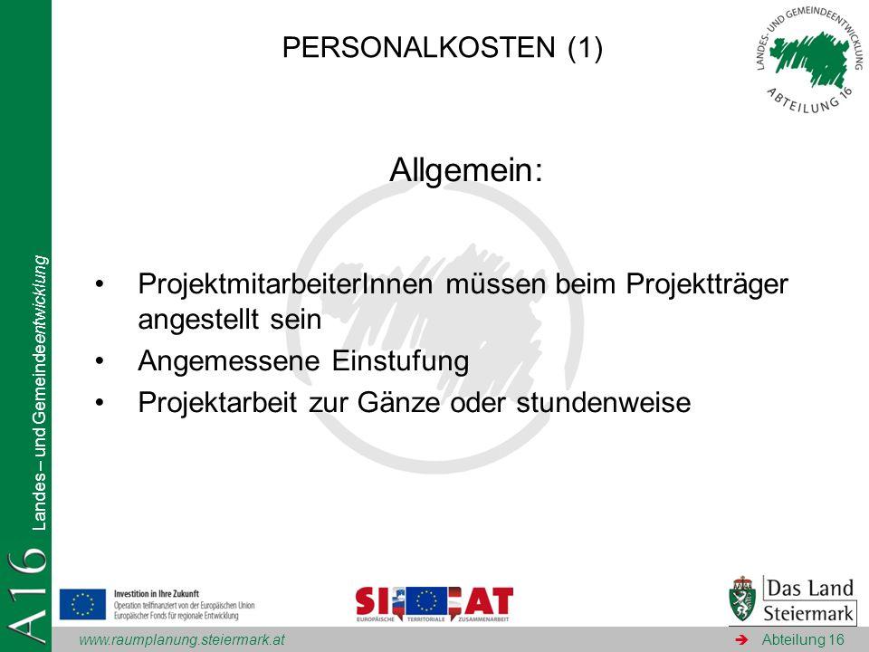 Allgemein: PERSONALKOSTEN (1)