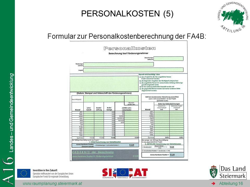 Formular zur Personalkostenberechnung der FA4B: