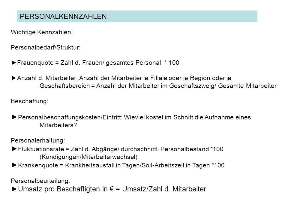 ►Umsatz pro Beschäftigten in € = Umsatz/Zahl d. Mitarbeiter
