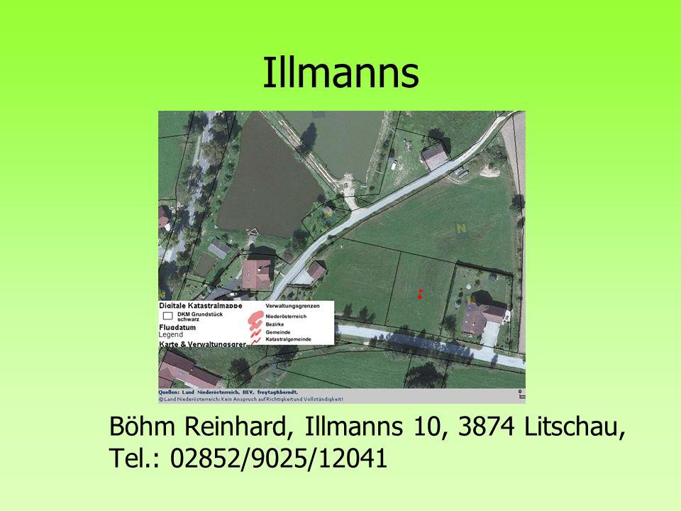 Böhm Reinhard, Illmanns 10, 3874 Litschau, Tel.: 02852/9025/12041