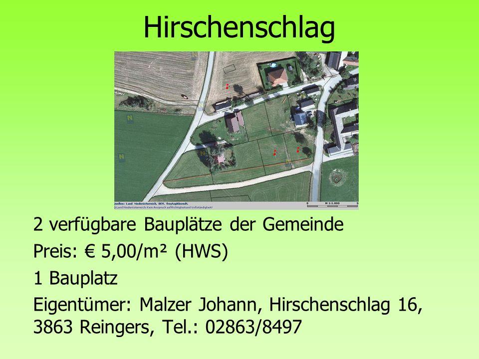 Hirschenschlag 2 verfügbare Bauplätze der Gemeinde
