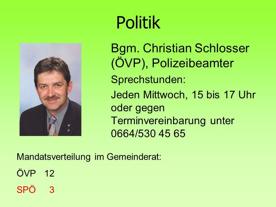 Politik Bgm. Christian Schlosser (ÖVP), Polizeibeamter Sprechstunden: