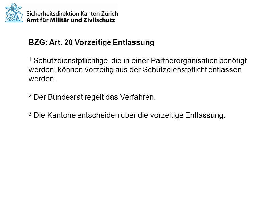 BZG: Art. 20 Vorzeitige Entlassung