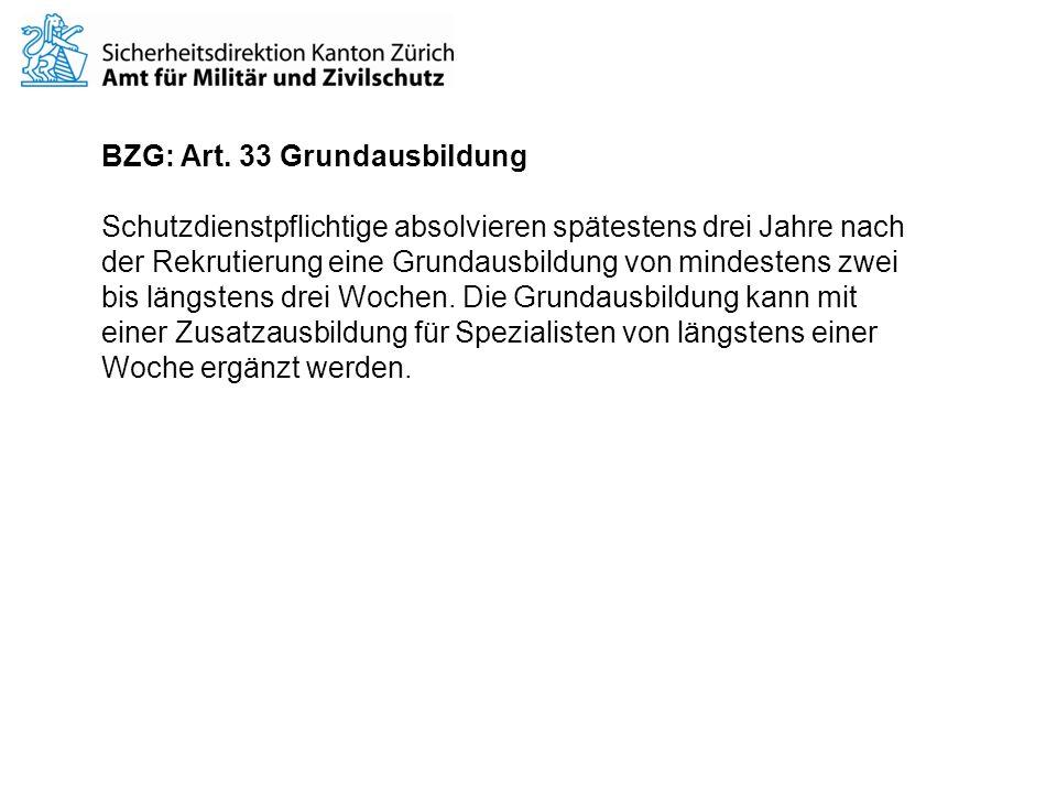 BZG: Art. 33 Grundausbildung