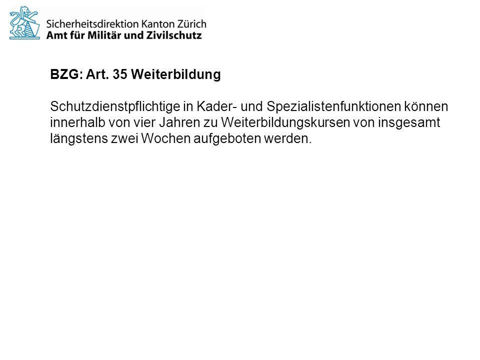 BZG: Art. 35 Weiterbildung