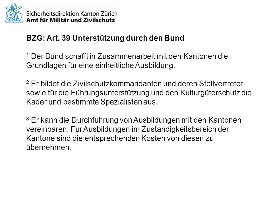 BZG: Art. 39 Unterstützung durch den Bund
