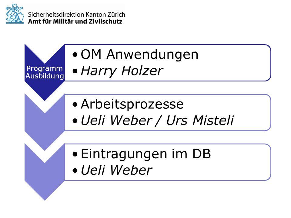 Programm Ausbildung OM Anwendungen. Harry Holzer. Arbeitsprozesse. Ueli Weber / Urs Misteli. Eintragungen im DB.