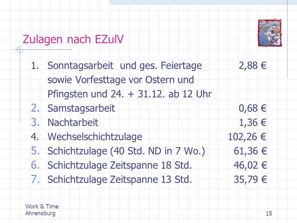 Zulagen nach EZulV 1. Sonntagsarbeit und ges. Feiertage 2,88 €